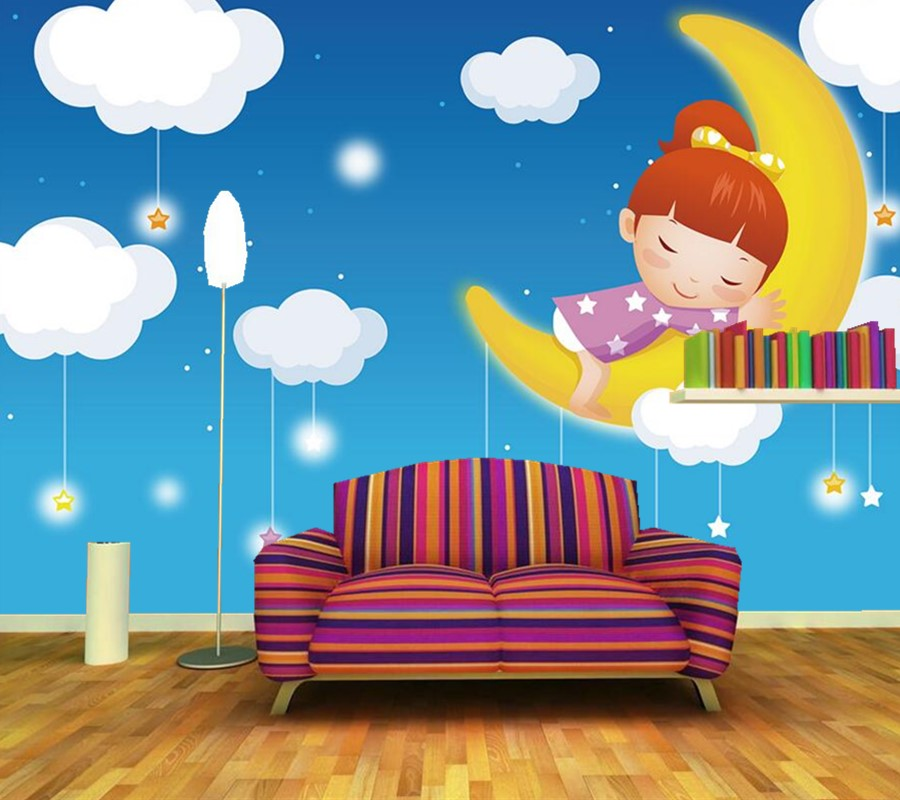 Custom 3d wallpaper.Moon girl sweet dream large mural papel de parede,living room sofa TV wall children bedroom lovely wallpaper 3d mural papel de parede purple romantic flower mural restaurant living room study sofa tv wall bedroom 3d purple wallpaper