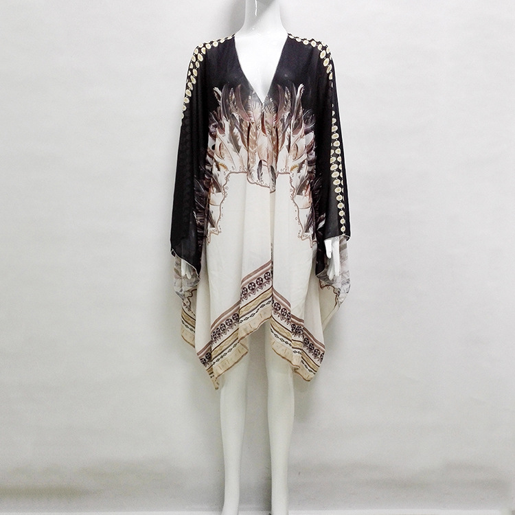 2019 New Summer Size Chiffon Bohemian Printed Beach Jacket women blouses in Blouses amp Shirts from Women 39 s Clothing