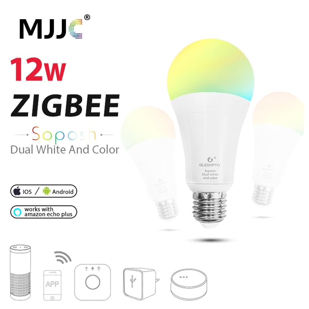 US $24.28 32% OFF ZIGBEE LED Bulb RGBCCT E27 E26 12W Dimmable ZLL Smart on status light, loop light, top light,