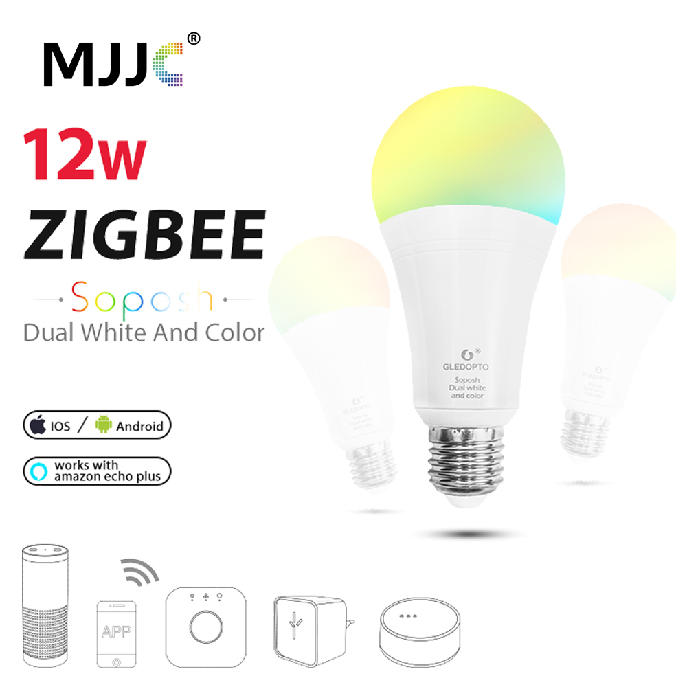 ZIGBEE LED Bulb RGBCCT E27 E26 12W Dimmable ZLL Smart Light Link AC 110V 220V 230V APP Control LED Lamp Work with Alexa Echo