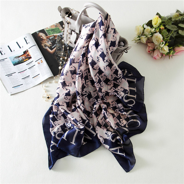2016 fashion bandana silk scarf luxury brand designer scarf women Houndstooth soft Shawl and scarves warm soft winter poncho