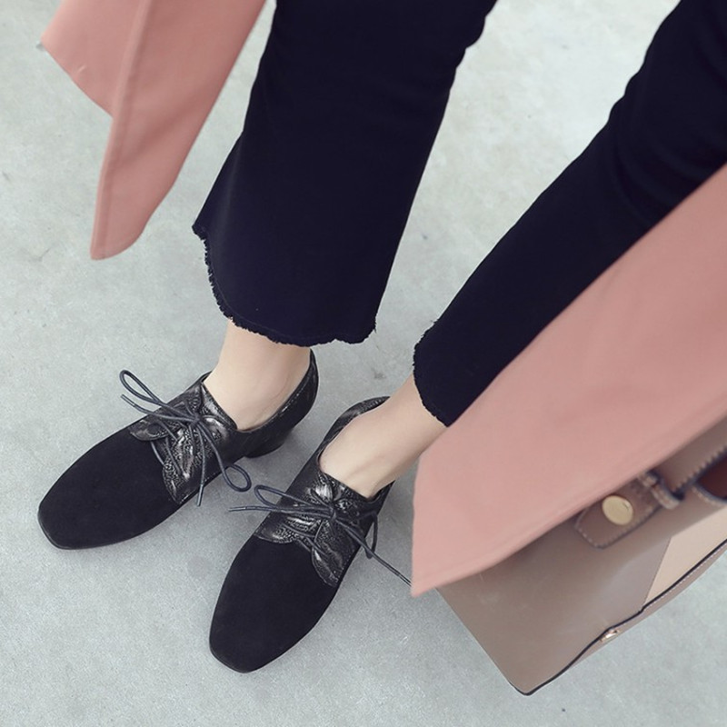 Size 34 43 New fashion genuine leather lace up women pumps Square Toe thick high heels Autumn Winter British Style oxford shoes in Women 39 s Pumps from Shoes