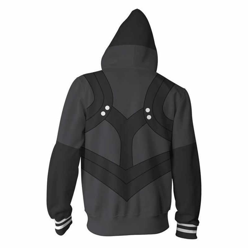 3D Druck Hoodie Anime Tokyo Ghoul Kaneki Ken Cosplay Zipper Mit Kapuze Schwarz Jacke Sweatshirt Streatwear Langarm Warme Mantel