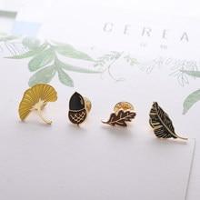 Opadłe liście morela żołądź szyszka jesienna roślina emalia przypinane broszki Denim kurtki dżinsy odznaka przypinki na klapę modna biżuteria na prezent