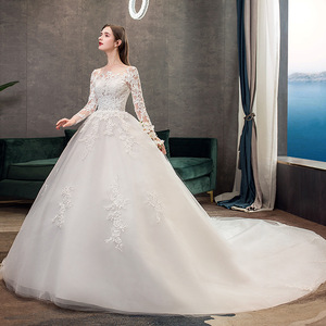 Image 2 - 2019 New Classic Off White O Neck Long Sleeve Wedding Dress Simple Lace Embroidery With Train Custom Made Slim Bridal Gown L
