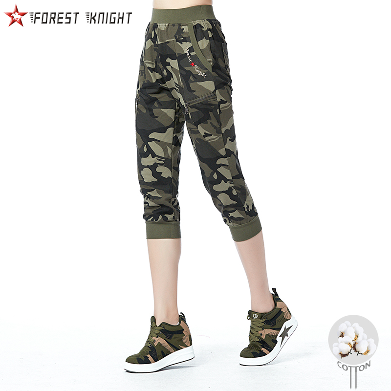 Army Camo Cotton Knit   Pants   Women   Capris   Outdoor Camping Trekking Hiking Tactical Sports Elastic Waist Female Trousers Summer 91