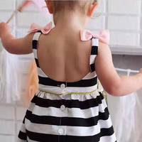Baby Girls Dress Summer 2017 Stripe Dress Baby Dressing For Party Holiday Black And White With