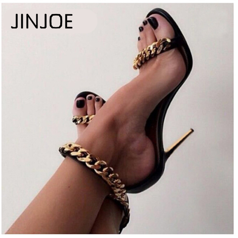 Gladiator High Heel Sandals 2017 Fashion Metal chain Buckle Strap Stiletto Pumps Women High Heels Party Wedding Shoes Woman цена