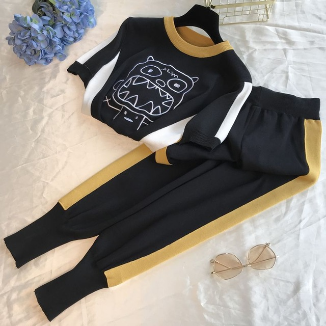 Amolapha Women Casual Knit Tops Pants Sets Cartoon Embroidery Sweater Trousers Suits for Woman