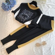 Amolapha Women Casual Knit Tops Pants Sets Cartoon Embroidery Sweater Trousers Suits for Woman(China)