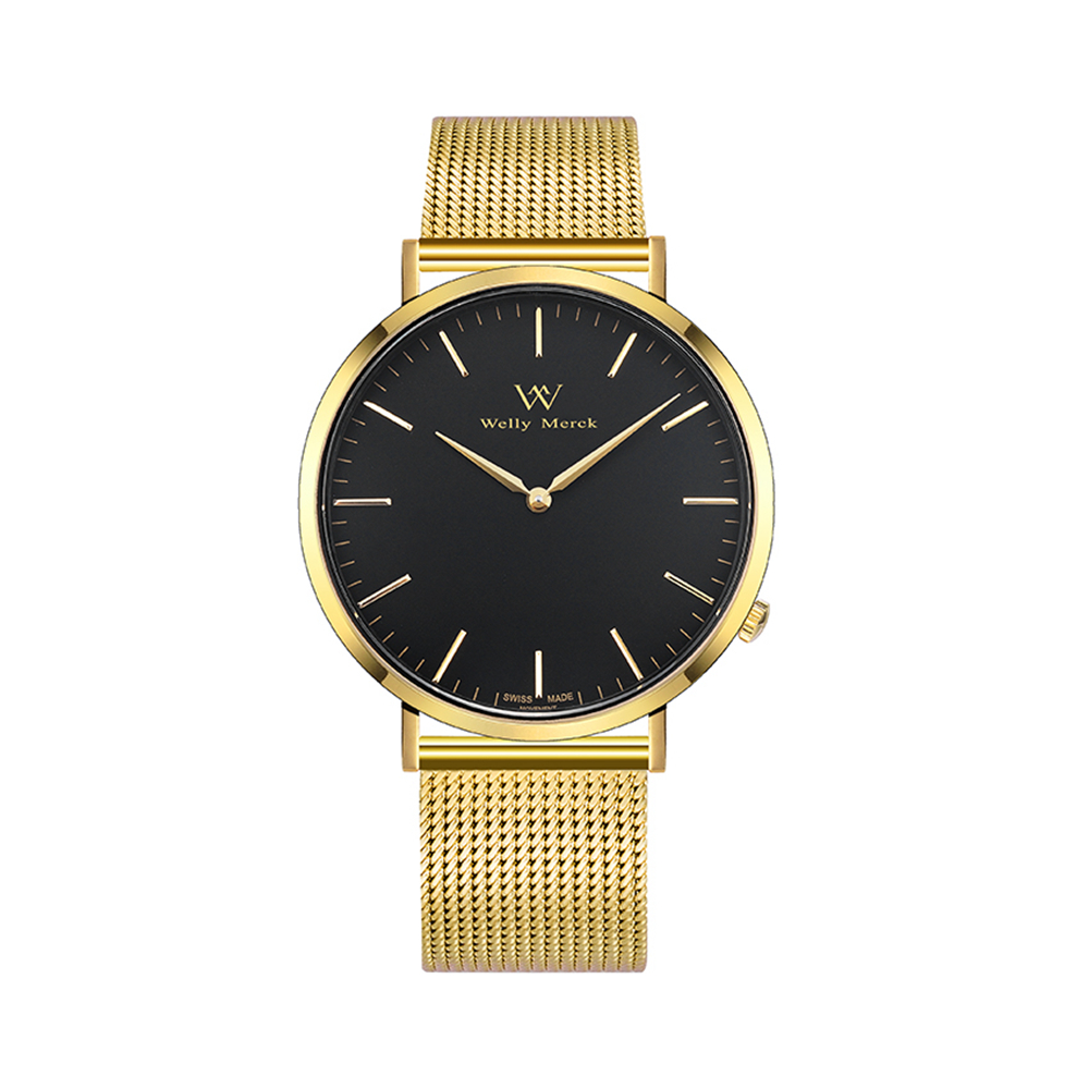 Welly Merck Women's Simple Watch Minimalistic Quartz Movement Sapphire Crystal Analog Wrist Watch with Gold Stainless Steel цена и фото