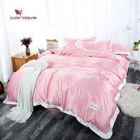 SLOWDREAM Bedding Set Luxury Double Linen Silk Euro Pink Sheet Bedspread Duvet Cover Comforter Adult Queen King Bed Linen Set