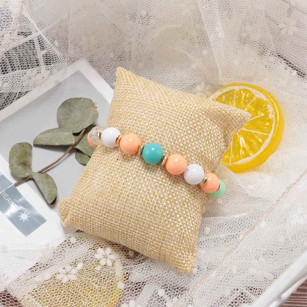 NEW 2pcs Beige Linen Small pillow for Bangle Bracelet Watch jewelry display Pillow Cushion Pillows Bracelet Jewelry Holder
