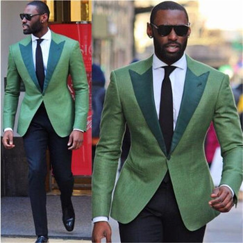 2018 Green Business Men Suits 2 Pieces(Jacket Pant Tie) High Quality Slim Fit Blazer Formal Prom Terno Clothes Fashion