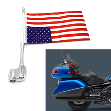 Motorcycle Dress Up Flag Pole Rear Tail side Luggage Rack Vertical American For Honda GoldWing GL1800 Moto 2001-2011