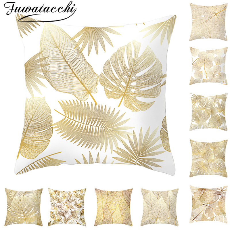 Fuwatacchi Golden Flowers Leaves Cushion Cover Clover Throw Pillows Cover For Home Sofa Chair Decorative Pillows 45*45cm
