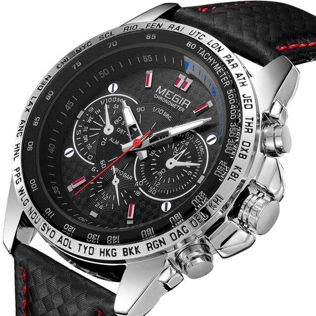 041784a9e1ae Megir Reloj Hombres Top Famosa Marca de Lujo de Cuero Correa de Reloj de  pulsera Para