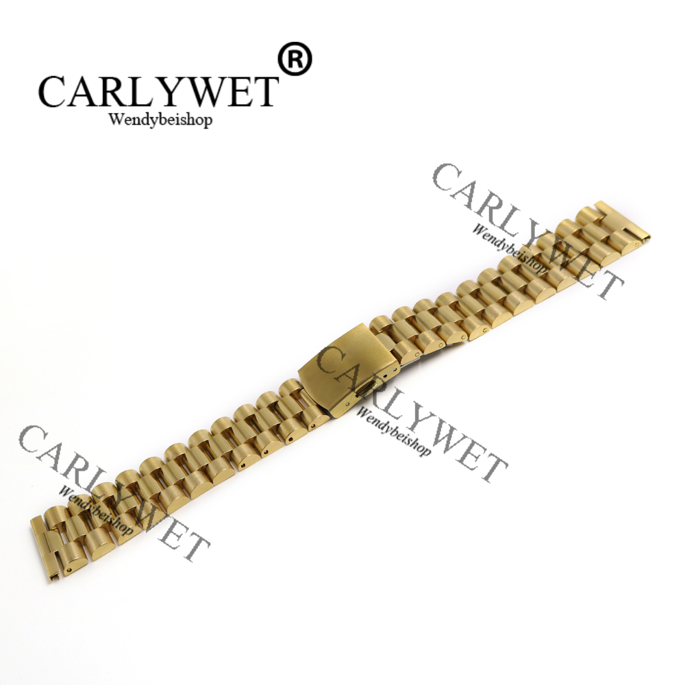 CARLYWET 22mm Straight End Screw Solid Links Deployment Clasp Stainless Steel Wrist Watch Band Bracelet Strap For Brand Watch stylish 8 led blue light digit stainless steel bracelet wrist watch black 1 cr2016