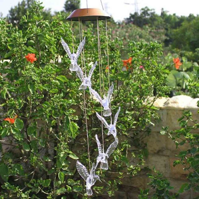 Solar Color Changing Led Hummingbird Wind Chimes Home Garden Decor Light Lamp