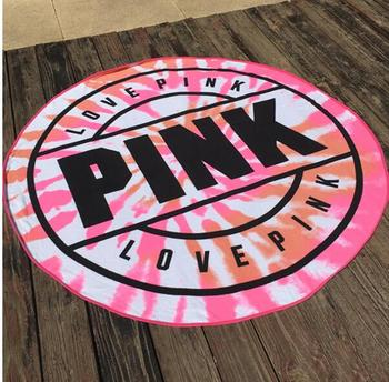 VS Pink Round Beach Towel Micofiber 160cm Absorbent Swimming Sports Bathrathe Towels Picnic Blanket serviette de plage 1