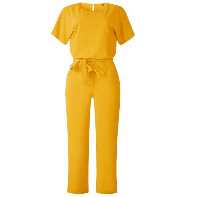 Wontive amarillo Oficina de Trabajo de las mujeres mono 2019 de Moda de Primavera Sexy general suelto sólido de mono de encaje arriba fajas mono