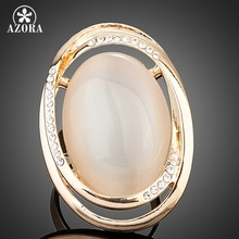 AZORA Gold Plated Egg Shaped Stellux Austrian Crystal Adjustable Size Ring TR0131