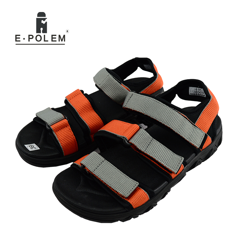 2017 New Style Joker Mens Black And Orange Breathable Rome Sandals Tide Fashion Men Hollow Out Open-Toe Summer Men Beach Sandals