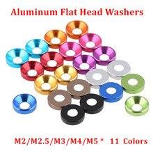 50pcs M2 M2.5 M3 M4 M5 M6 Aluminum Alloy Countersunk Head Washers for Flat Head Screw Bolt Gasket Aluminum Cone Washer Anodized