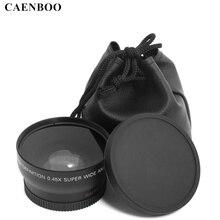 Caenboo lente macro grande angular, lente 0.45x37mm 43mm 46mm 49mm 52mm lente de câmera para canon eos nikon, acessórios para lentes da sony