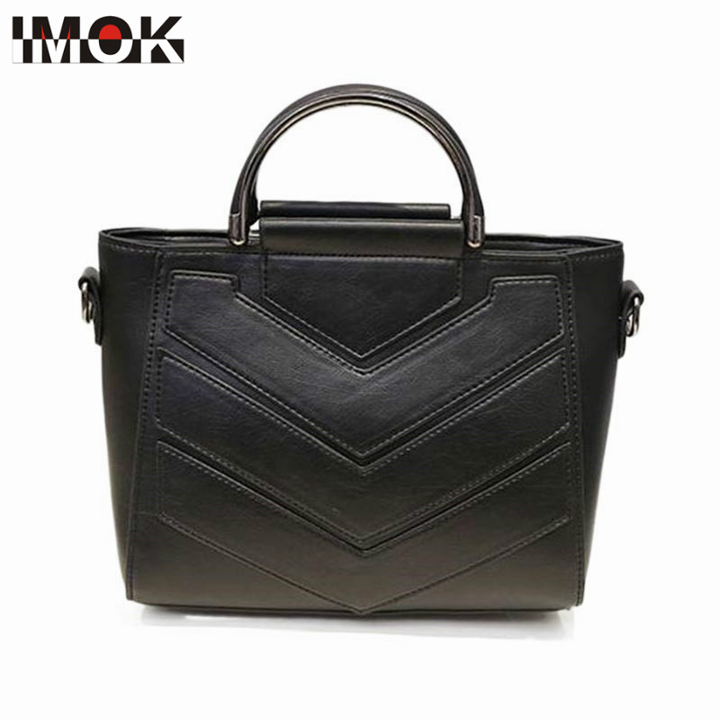 IMOK 2018 new Fashion cute Women Shoulder Bag High Quality Women Messenger Bag Women Tote Bag Leather Women Handbag Patchwork ba