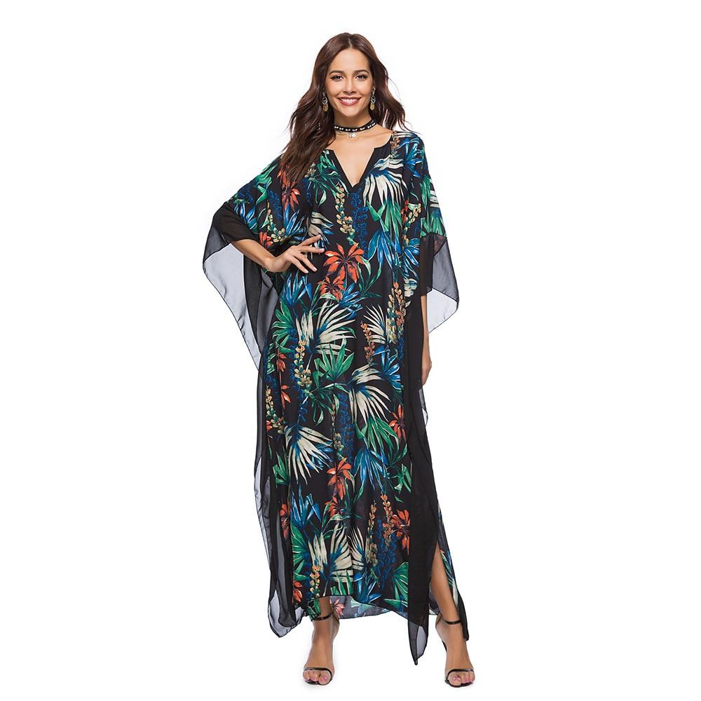 2018 Summer Print Long Dress Women Robe Beach Maxi Dresses Boho Plus Size Casual Loose Dresses Batwing Sleeve Large Clothing Hot