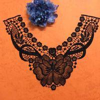 Retro Classic Black Peony Pierced Lace Applique Black Neckline Polyester Collar Venise Lace Trims Craft 35