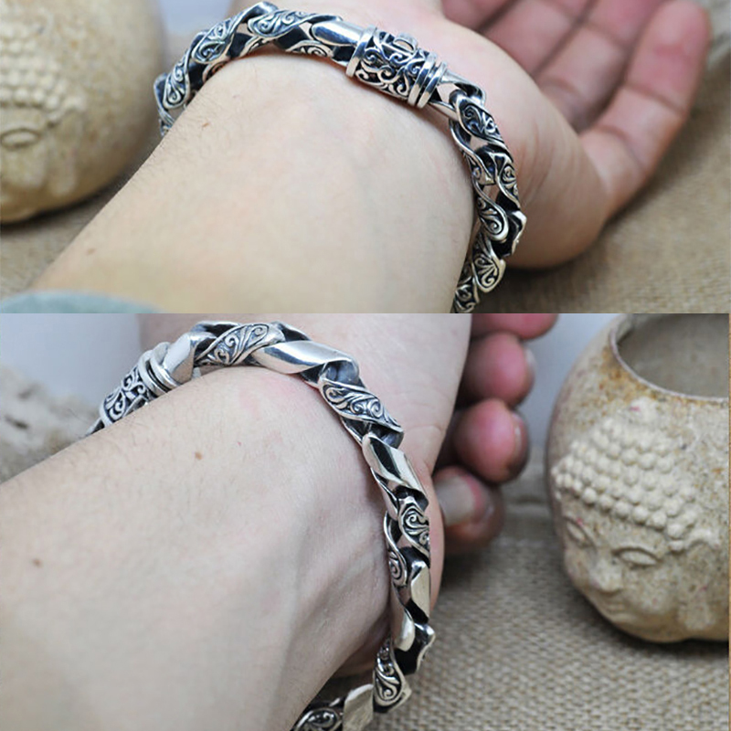 Pulseras de plata de ley 925 100% auténtica para hombres Retro diseño negro joyería de plata sólida genuino S925 pulsera de plata para hombres HYB22 - 5