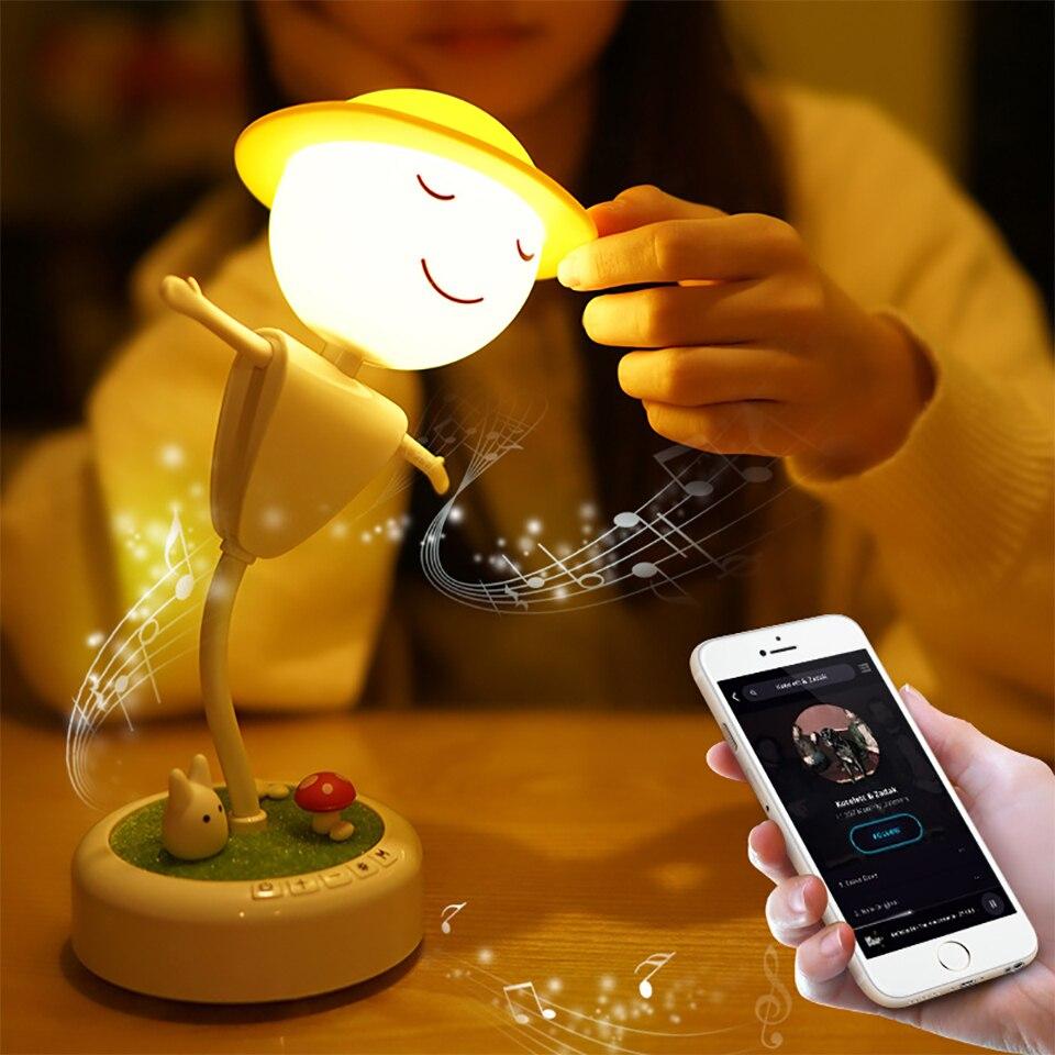 Пугало ночник светодиодный сенсорный индукции прикроватная USB Rechageable настольная лампа для маленьких детей Украшения в спальню Bluetooth Динами...