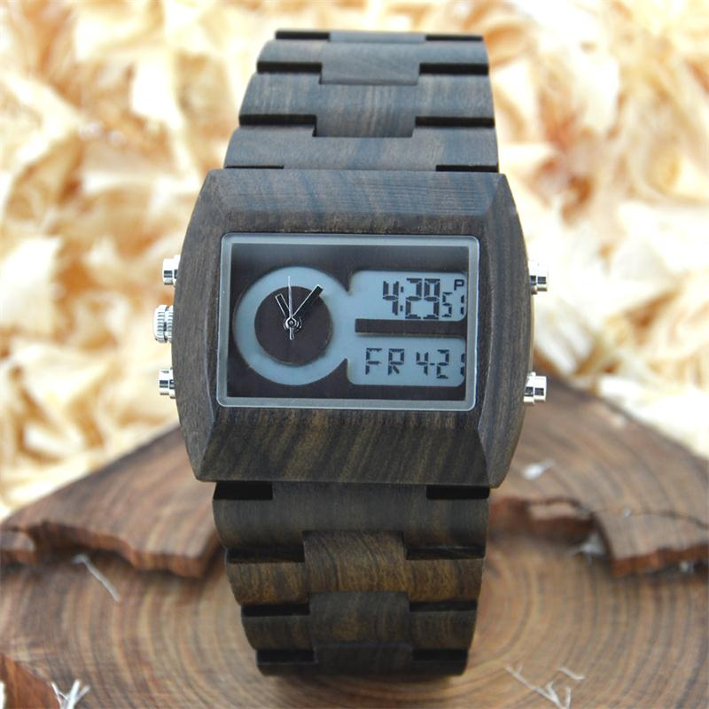 BEWELL Wood Watch Men Fashion Genuine Male Ebony Dual Time Wristwatch Relogio Rectangle Zone Wooden Dial LED Digital Watch Box bewell multifunctional wooden watches men dual time zone digital wristwatch led rectangle dial alarm clock with watch box 021a