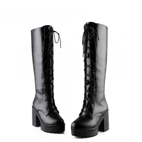 Cosplay Black/White lacing punk Martin boots High boots Cos Shoes Basic Supplies