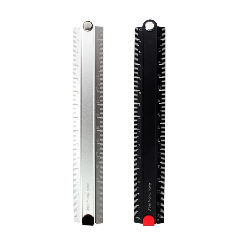 KOKUYO Metal Ruler 15/30cm Alumite Folding Ruler Urban Monochrome For Patchwork Examination Engineering
