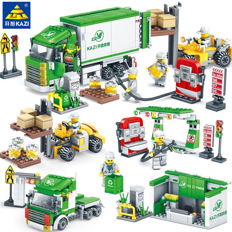 526PCS 4IN1 CITY Street View Logistics Center Express LegoINGLY Building Blocks Sets Bricks Kids Playmobil Toys for Children