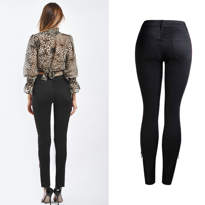 2019 Mezclilla Las Inglaterra De Slim Hueco Mujer Agujero Primavera Mujeres Rasgados Skinny Negro Vaqueros Para Pantalones Lado Jeans Moda C5Bw4xq
