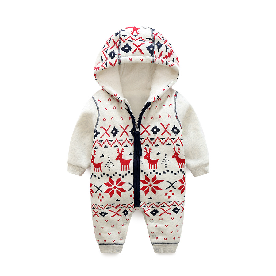 Cotton+fleece Baby Girls Clothes Long Sleeves   Rompers   Zippers Baby Christmas Newborn Spring Autumn Jumpsuits Cartoon Kids Cloth