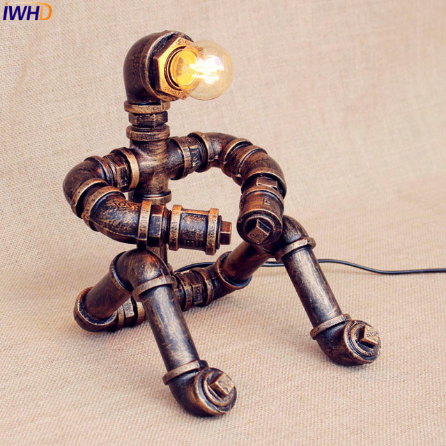 Iwhd Vintage Industrial Table Lamp Bedroom Creative Water Pipe