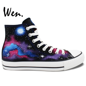 Wen Original Hand Painted Canvas Shoes Design Custom Galaxy Nebula Starlight Men Women's High Top Canvas Sneakers for Gifts