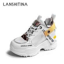 цены на 2019 New Summer High Platform Shoes Air Mesh White Shoes Breathable Casual Shoes Woman 8CM Wedge Heels Women Thick Sole Sneakers  в интернет-магазинах
