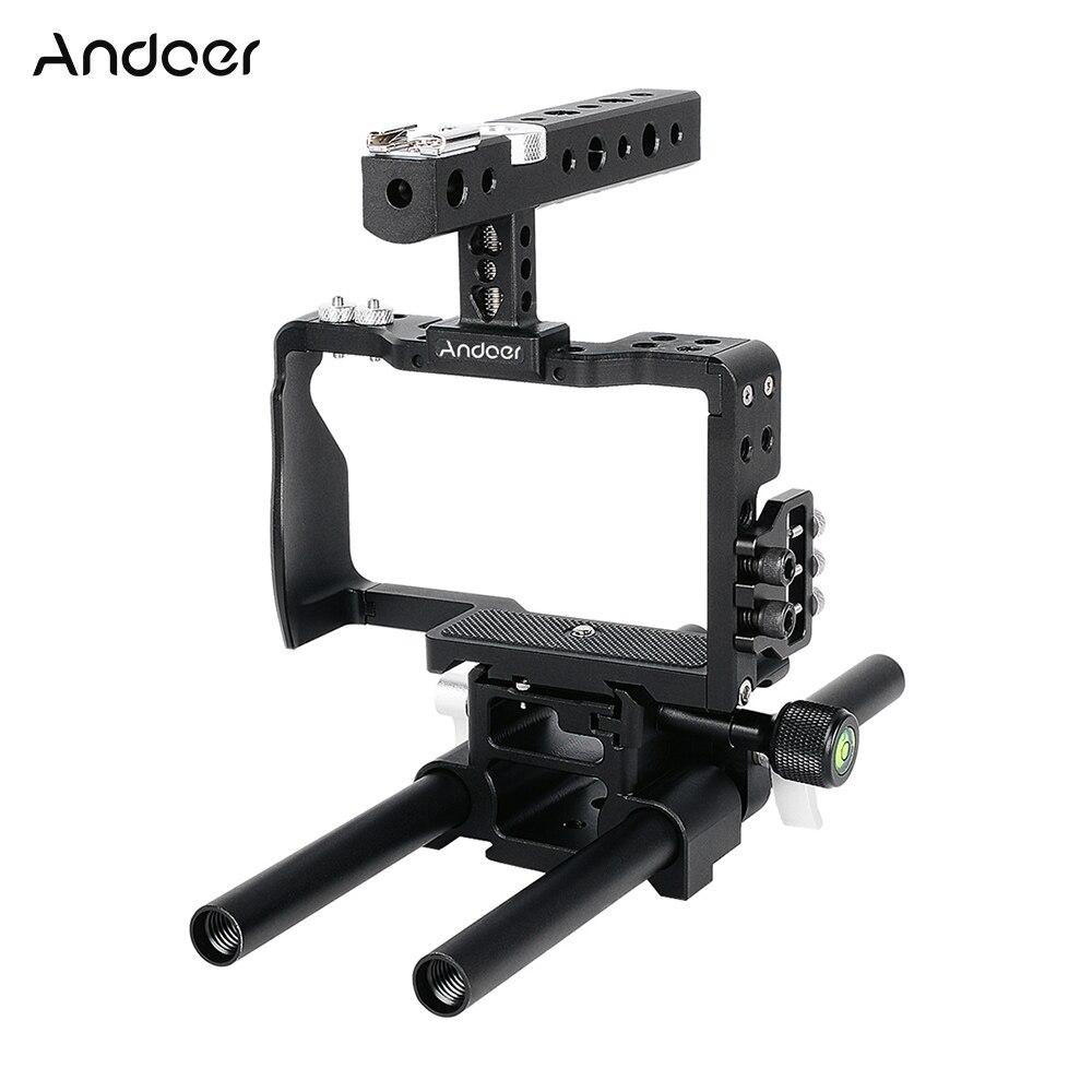 bilder für Andoer Professionelle Video Käfig Rig Kit Film, Der System w/15mm Stange für Sony A6000 A6300 A6500 ILDC Mirrorless Kamera Camcorder
