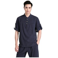 Free Shipping Chinese Traditional Linen Short Sleeve Tang Suit Tops Kung Fu Uniform Kung Fu Jacket 5 Color