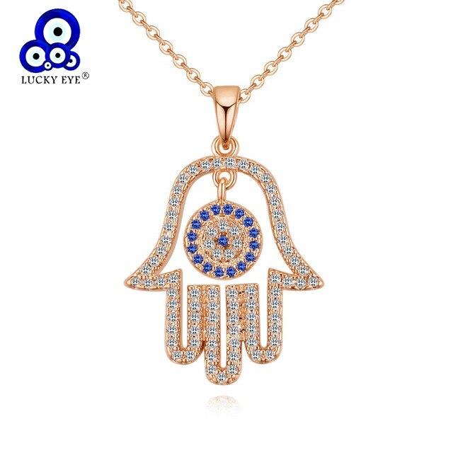 Lucky Eye Hamsa main pendentif collier pour les femmes bleu mauvais œil collier Zircon or Rose argent couleur bijoux LE109