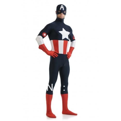 Tamsiai mėlyna ir raudona ir balta spandekso kostiumas Captain - Karnavaliniai kostiumai - Nuotrauka 3