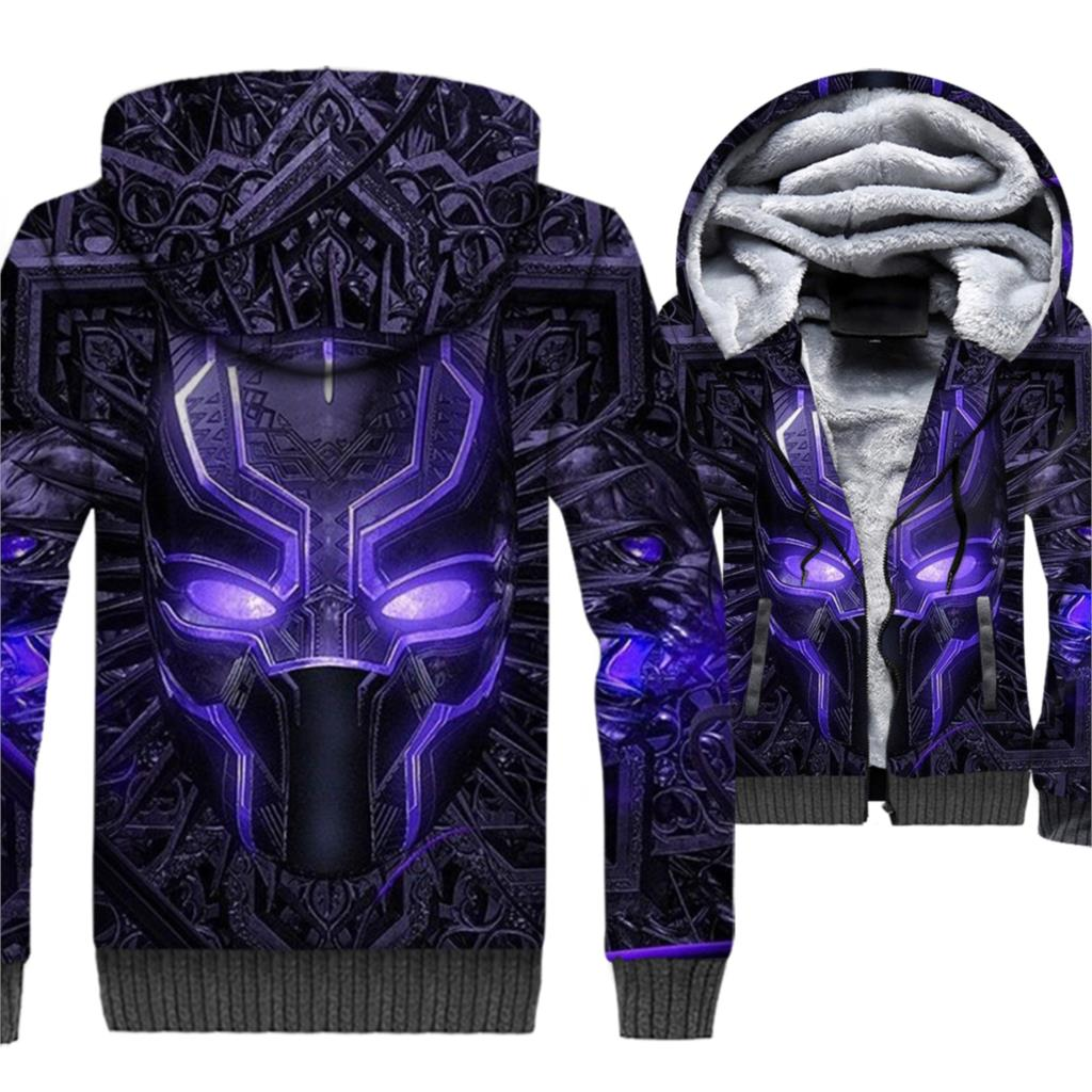 Black Panther Wakanda 3D Jackets Men Cool Hoodie Super Hero Sweatshirt 2018 Winter Thick Fleece Warm Killmonger Hipster Coat