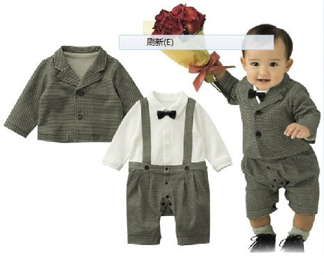 9362c40d9 DHL EMS Free shipping Infants Baby boys Kids gentleman party 2 piece set  Romper Jacket overall bow Suit 70 80 90 95-in Clothing Sets from Mother &  Kids on ...
