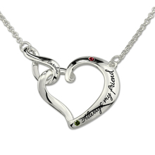 Wholesale Infinity Love Heart Necklace with Birthstones Sterling Silver Interlocking Pendant Necklace for Sisters